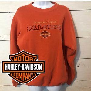 Harley Davidson Orange Crew Neck Sweatshirt L